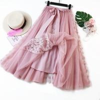 New Mesh Skirt 2018 Autumn Korean Large Size Women's Lace Long Skirt Pettiskirt Patchwork Ladies Bow Skirt