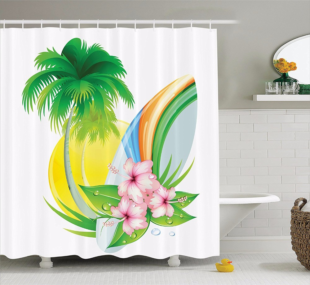 high quality arts shower curtains palm tree flower surfboard colorful design bathroom decorative modern shower curtains
