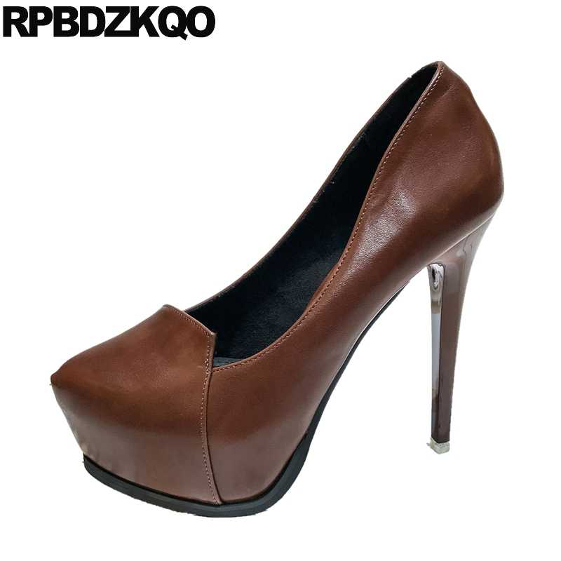 b09e73fc99 platform shoes women sexy stripper fetish pumps pointed toe gothic thin  extreme high heels black brown