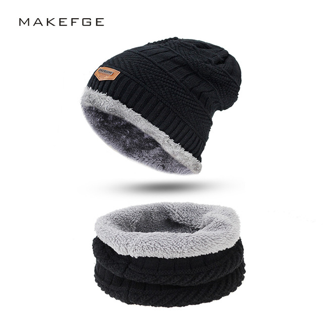 Men Winter Slouchy Beanie Hat Scarf Set Women Lined Thick Knit Skull Cap  Thick Warm Wool 3fbca940d48