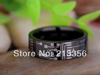Cheap Price Free Shipping 2013 USA Hot Selling 8MM Shiny Black Pipe Circuit Board The Lord Mens' Tungsten Carbide Wedding Ring