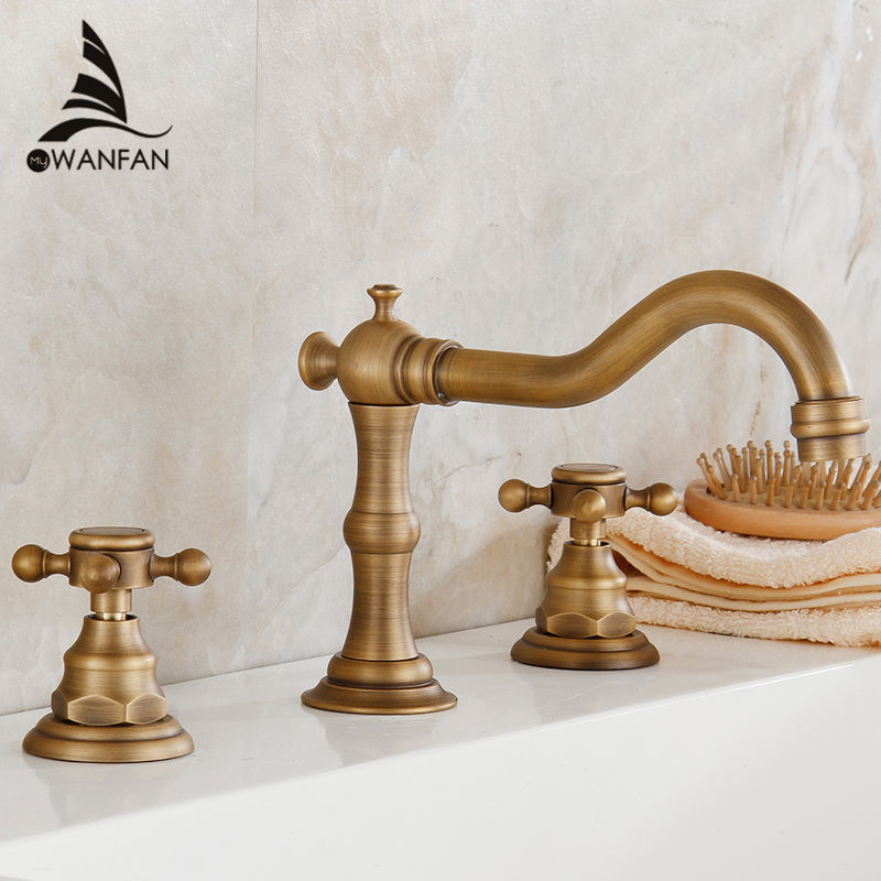 Free Shipping 3 pcs Antique Brass Deck Mounted Bathroom Mixer Tap Bath Basin Sink Vanity Faucet