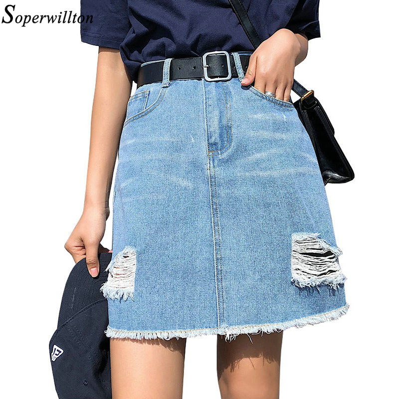 0e9dcad6c Detail Feedback Questions about Plus Size Denim Skirt Blue Women 2019  Summer Sexy Mini High Waist Black Jean Ripped Skirt Short Female Jupe Falda  with Belt ...