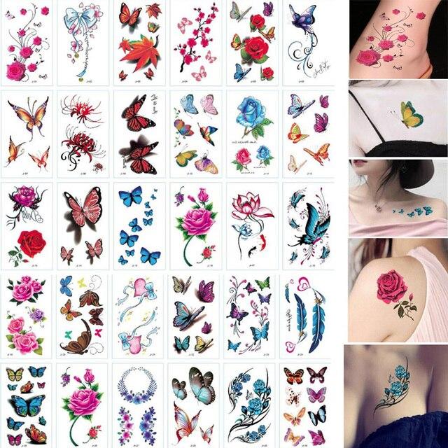 30 Sheet 3D Butterfly Temporary Tattoos Body Art Sticker Flower Letters Cartoon Dog Fake Tattoos Infinity Tattoo for Women, Kids 1