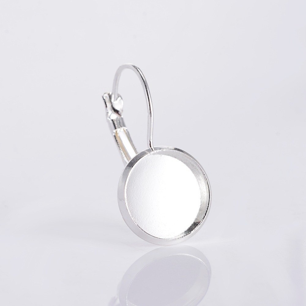 12mm French Lever Back Blank Base Bezels Earrings Fit 12mm Glass Cabochons  Earring(china (