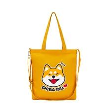 Cute Doge Printing Women Handbag Canvas Large Capacity Shiba Inu Shoulder Hand Bag Crossbody Bag bolsa feminina bolsos mujer