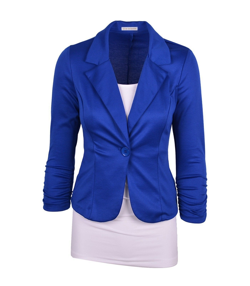 2018 Slim Casual Blazers Women Solid Single Button Notched Cotton Short Coats Female Spring Candy Color Blazers Autumn