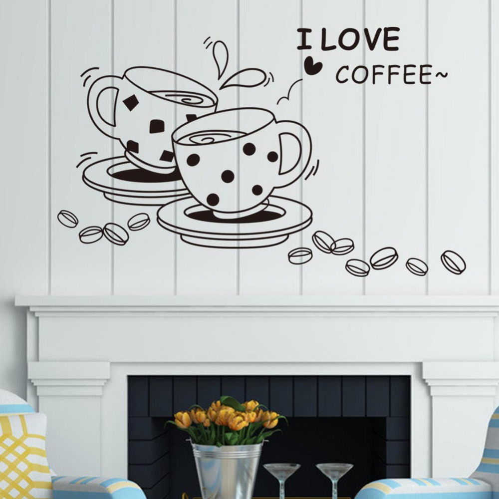I Love Coffee Wall Sticker Ristorante Casa Cucina Decorazione ...