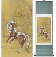 Traditional Chinese art painting Horse art painting Silk scroll art painting Horse painting 042008
