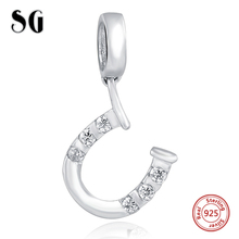 Silver Galaxy Lucky Horseshoe with Zirconia Beads For Women Fit pandora Bracelet Charms Silver 925 Original Fashion DIY Jewelry цена