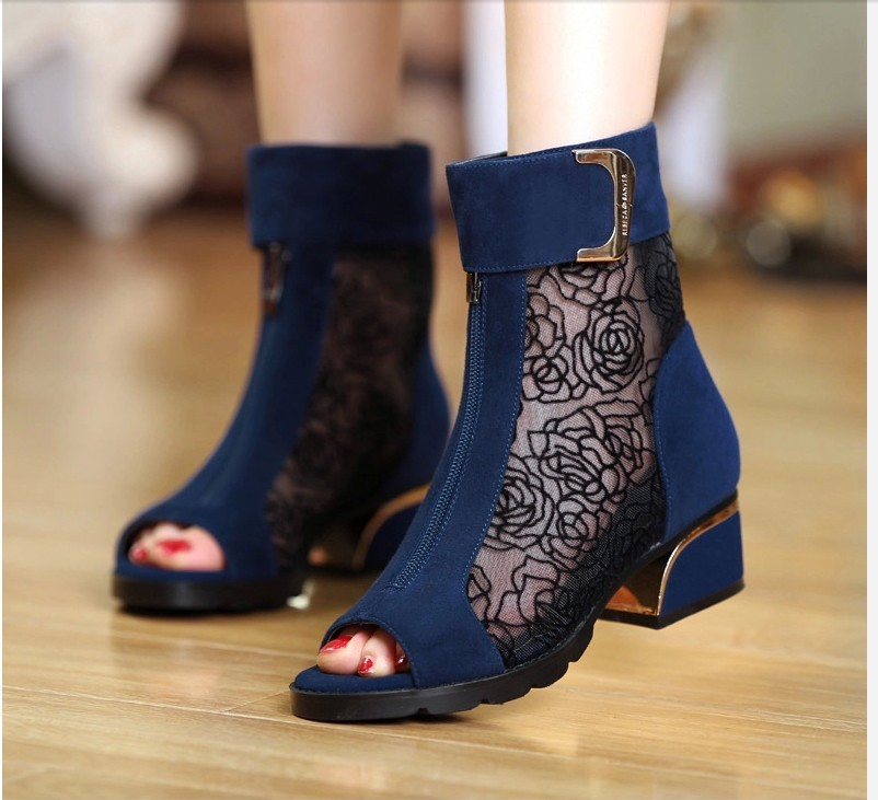 2018 new large size with fish mouth boots Fashion leather mesh thick with lace Roman womens sandals.2018 new large size with fish mouth boots Fashion leather mesh thick with lace Roman womens sandals.