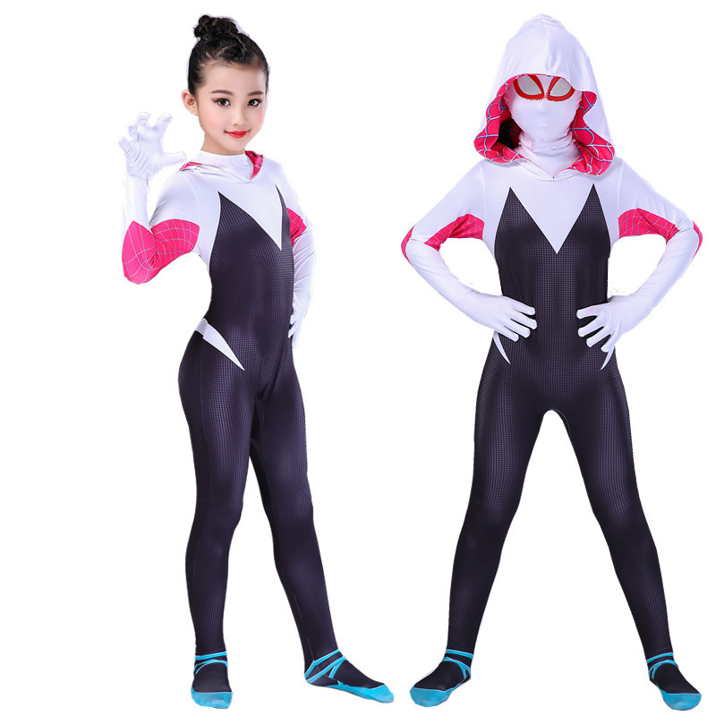 Spider Man Cosplay Costume Gwen Stacy Spiderman Jumpsuit Spider Girl Halloween Costumes For Woman Kids Zentai Suit Bodysuit