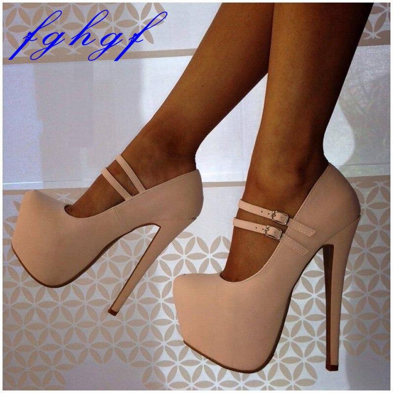 FGHGF popular brand platform shoes women peep toe 16CM heels sexy beige sky blue shoes high