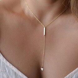 2017 venda quente novo estilo boemia simples pequeno triangular borlas chian colar para jóias femininas