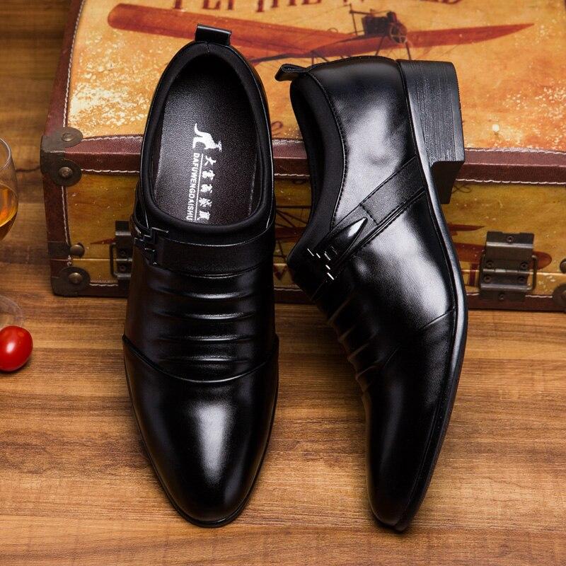 Hommes chaussures en cuir véritable appartements affaires formelles hommes robe chaussures sans lacet printemps automne Oxfords luxe mode Zapatos Hombre