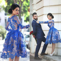 Кристалл Цзян 2018 драгоценный воротник с длинными рукавами Королевская Синяя Кружевная аппликация на заказ вечернее платье винтажное кокте
