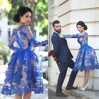 Кристалл Цзян 2018 Jewel Воротник с длинными рукавами Королевский синяя кружевная аппликация на заказ бальное платье Винтаж арабский Стиль кок
