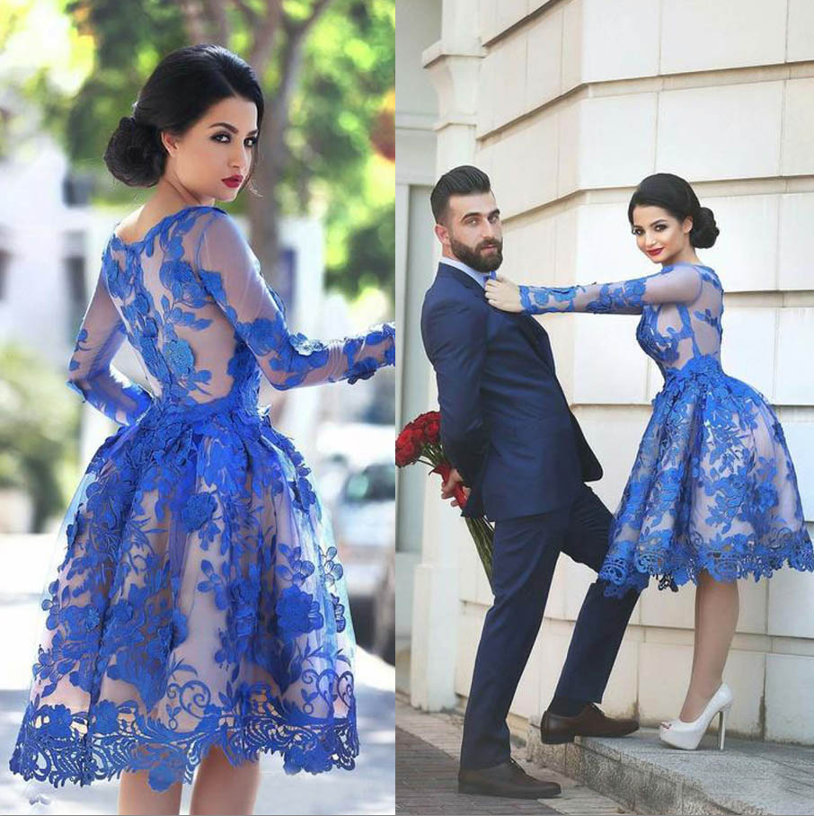 CRYSTAL JIANG 2018 Jewel Collar Long sleeves royal blue Lace Applique Custom made Ball Gown Vintage Arabic Style Cocktail Dresse