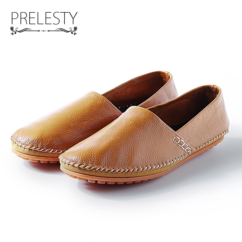 Prelesty Big Size Spring Autumn Breathable Men Luxury Brand Driving Shoes Handmade Leather Loafers Casual Slip On Footwear Male wonzom high quality genuine leather brand men casual shoes fashion breathable comfort footwear for male slip on driving loafers