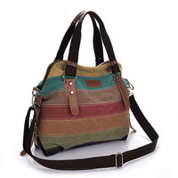 Fashion Vintage Women S Shoulder Color Block Bag Canvas Tote Messenger Lady S Handbag Purse