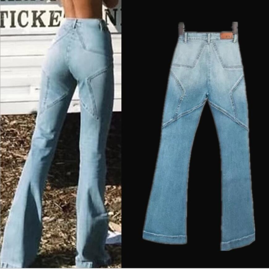 New Stretchy High Waist   Jeans   Star Patchwork   Jeans   Women Fashion slim hip wide leg flare   jeans   plus size