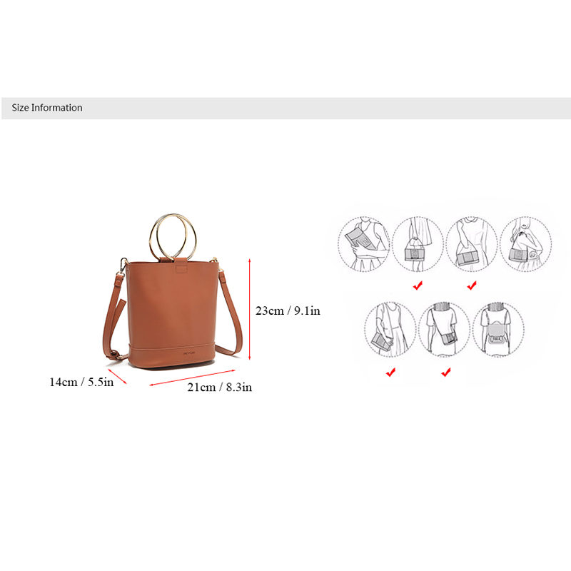 7b49cb417618e MICOCAH Marke Mode Frauen Eimer Taschen 2 Stücke Metall Ring PU Leder Luxus  Handtaschenfrauen designer NCS044 in MICOCAH Marke Mode Frauen Eimer Taschen  2 ...