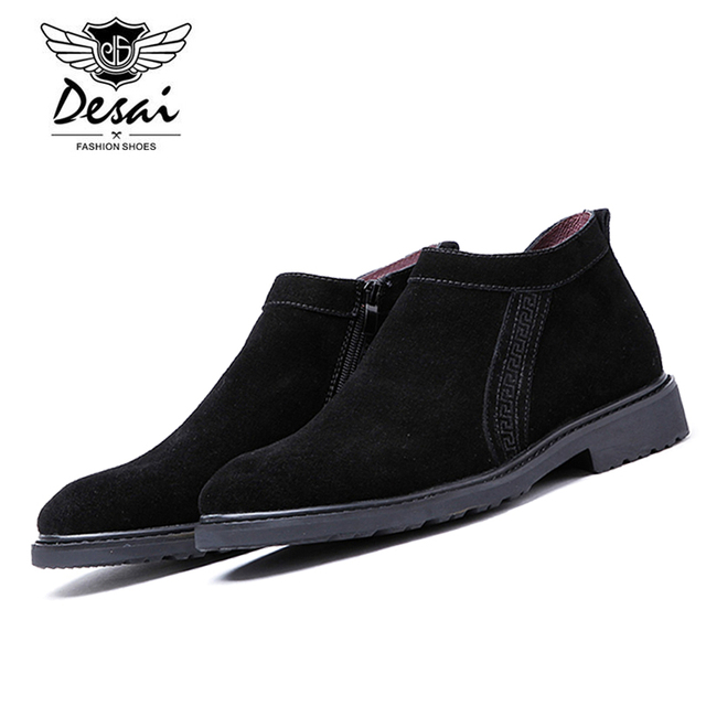 958add3ef490 DESAI Men Genuine Leather Casual Shoe Black Suede Zip Loafers Rubber Sole  Round Toe Flats Men s Boots Suede Shoes ds168009