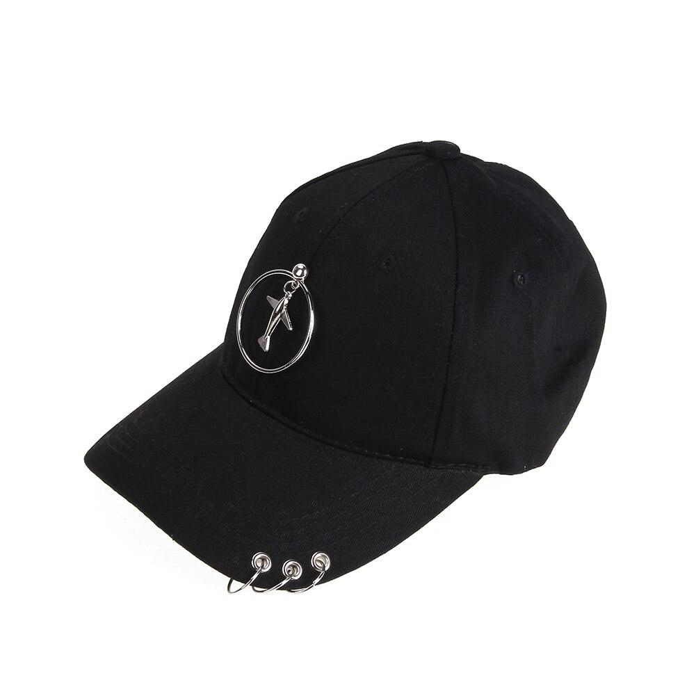 f8ec463d3dc Black Baseball Cap Iron Ring Unisex Adult Casual Unique Hoop Sun Cap  Baseball Cap Simple Cool Adjustable Snapback Hip Hop Hat