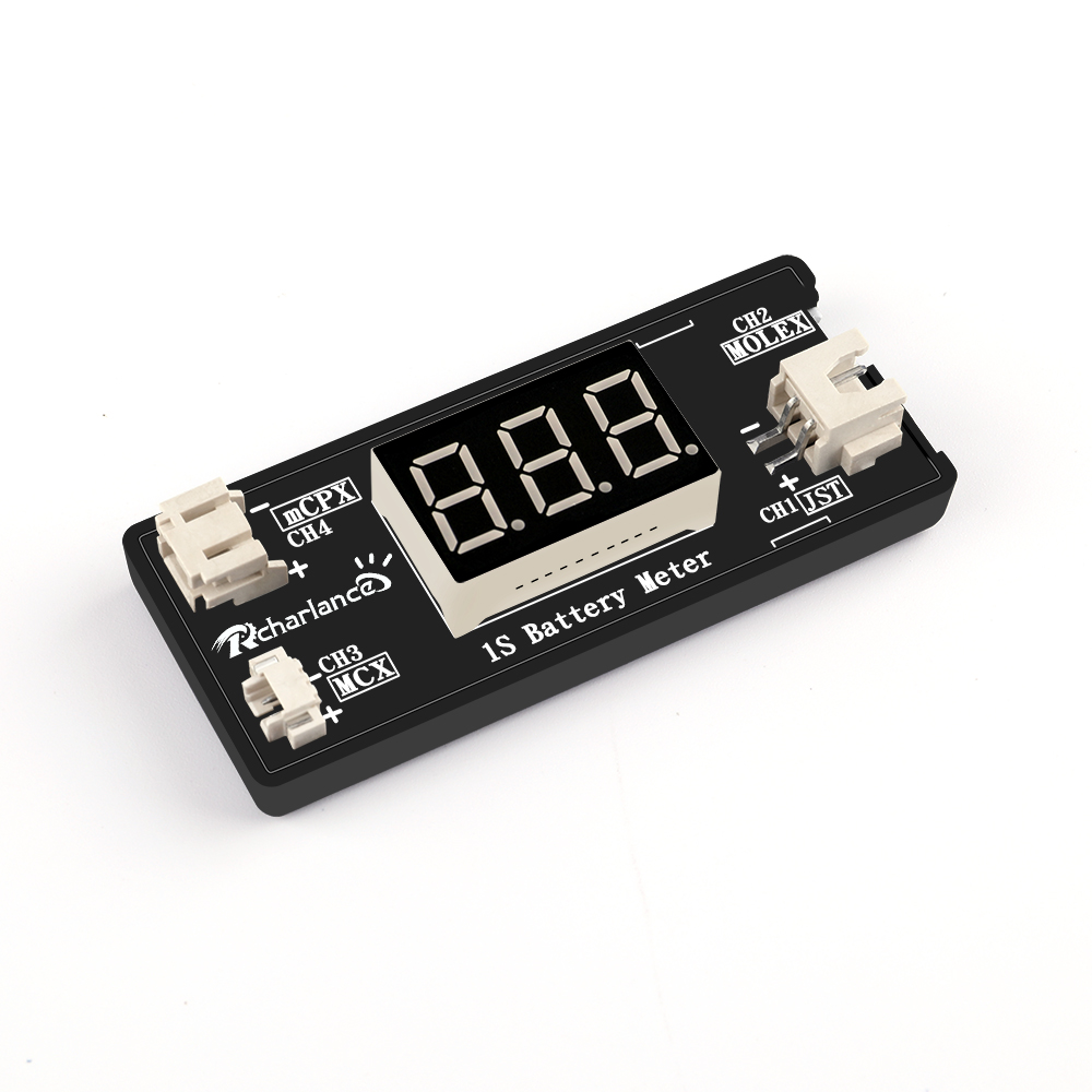 1S LiPo Battery Voltage Checker Tester for RC Drone Quadcopter Battery with JST MCX PH 2.0 and Micro Losi Cable image