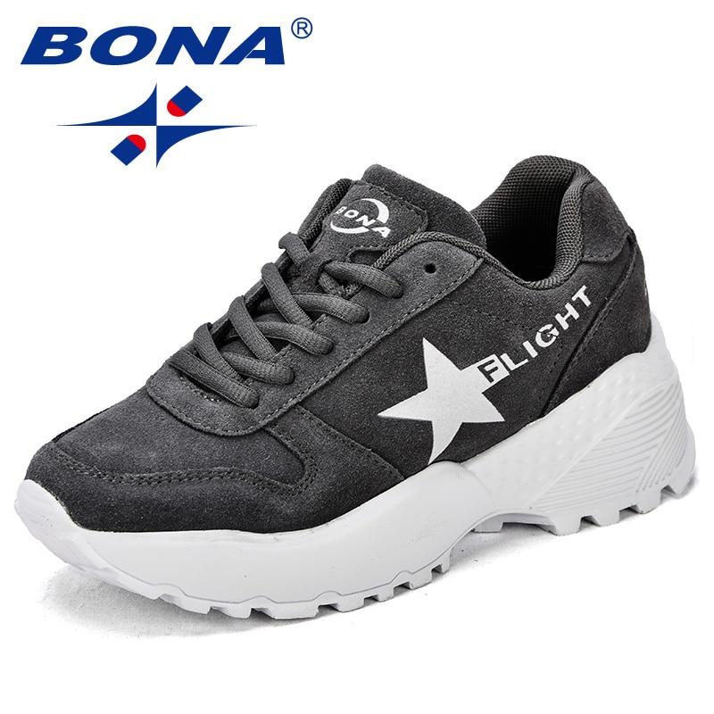 BONA nuevo estilo clásico mujeres caminando zapatos Lace Up Mujer Zapatos de deporte al aire libre zapatillas envío libre rápido cómodo
