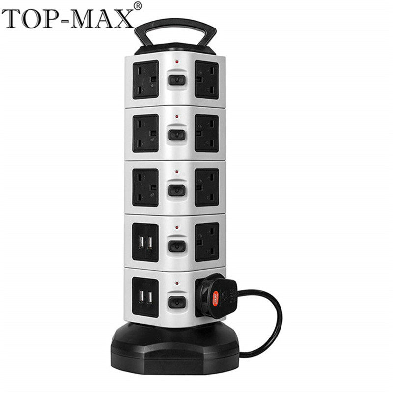 цена на TOP-MAX 5 Layer Extension Socket UK Plug 18 Outlets 4 USB Ports 2M Cable Vertical Socket Strip Socket With Overload Protector