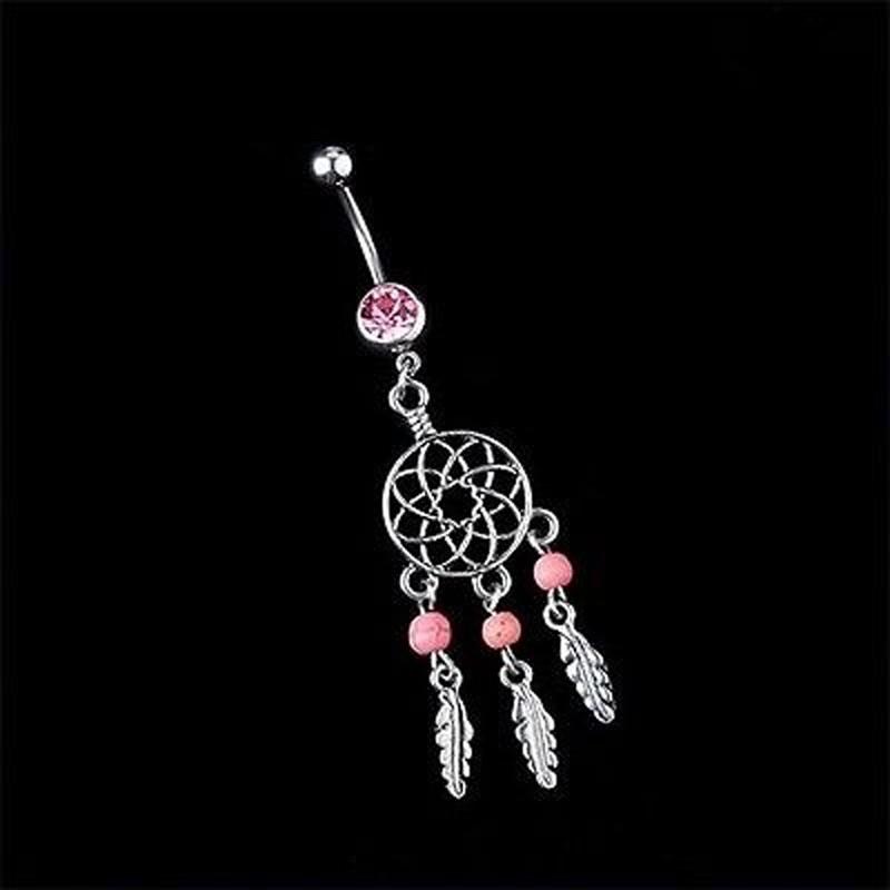 HTB1A8G8PVXXXXc9XFXXq6xXFXXXP Sexy Fashion Crystal Dream Catcher Dangle Belly Button Ring For Women - 3 Colors