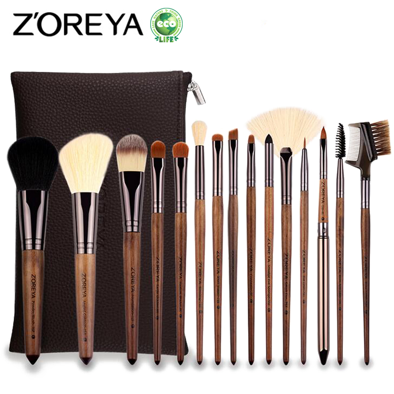 ZOREYA 15pcs Professional Makeup Brush Set Large Foundation Powder Blush Kabuki Cosmetic Make Up Brushes Tools Kits Maquiagem decompression anion pu leather non allergy bracelet silver black coppery