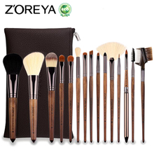 ZOREYA 15pcs Professional Makeup Brush Set Large Foundation Powder Blush Kabuki Cosmetic Make Up Brushes Tools Kits Maquiagem