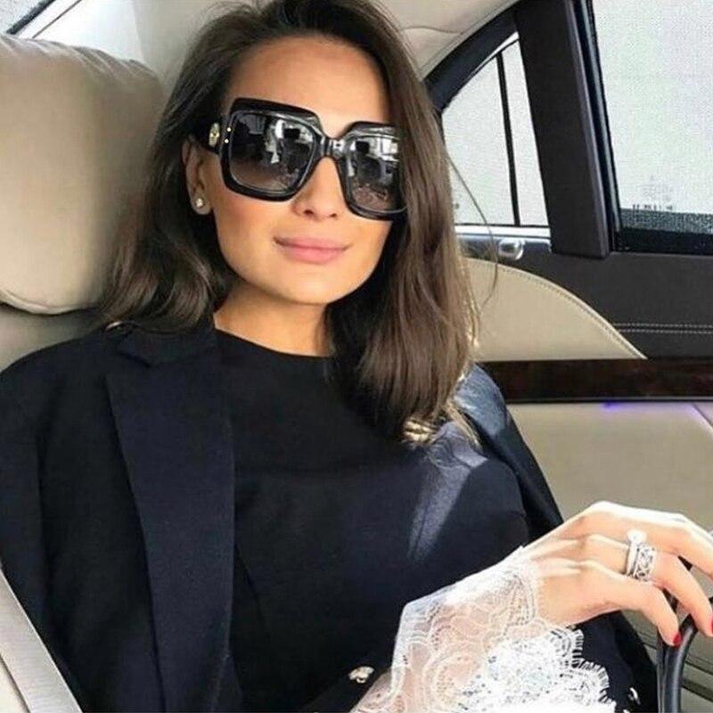 Emosnia praça luxo óculos de sol óculos de proteção uv400 feminino tendência moda preto cinza gradiente 2018 novo oculos ao ar livre