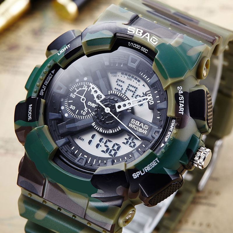 SBAO Army Camouflage Military Watch Men Brand Luxury Famous Electronic LED Digital Sport Watches Male Clock Relogio Masculino