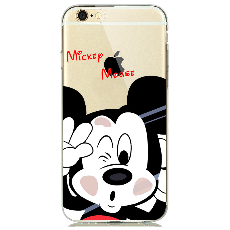 Mickey Minnie Mouse Phone Cover for iPhone 7 Case Soft TPU Clear Rubber Silicone Micky Case for iPhone 5s 6 6s 7 8 Plus funda
