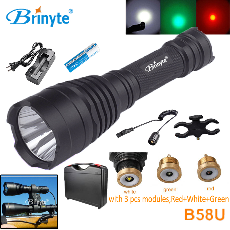 Brinyte B58U Hunting Flashlight Torch Cree XM-L2 LED 18650 Pressure Switch Flashlight with RED GREEN WHITE Module led tactical flashlight 501b cree xm l2 t6 torch hunting rifle light led night light lighting 18650 battery charger box