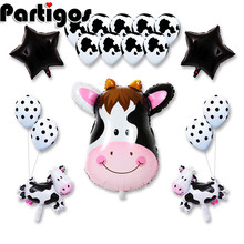 18pcs 40*64cm Cow Tiger Zebra Head Birthday Balloons Animal Theme Party Star Decor 3.2g Latex Helium Supplies Balaos Toys