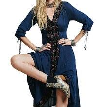 Купить с кэшбэком Women Ethnic Embroidery Maxi Long Dress 2017 Autumn Summer Hippie Boho Chic Cotton Bohemia Beach Dresses Female Vestido Blue