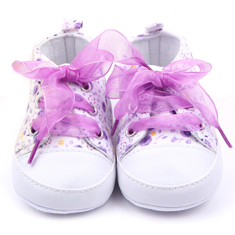 Wholesales Baby Shoes Flower Ribbon Baby Girl Sneaker Lace Up Soft Sole Prewalkers
