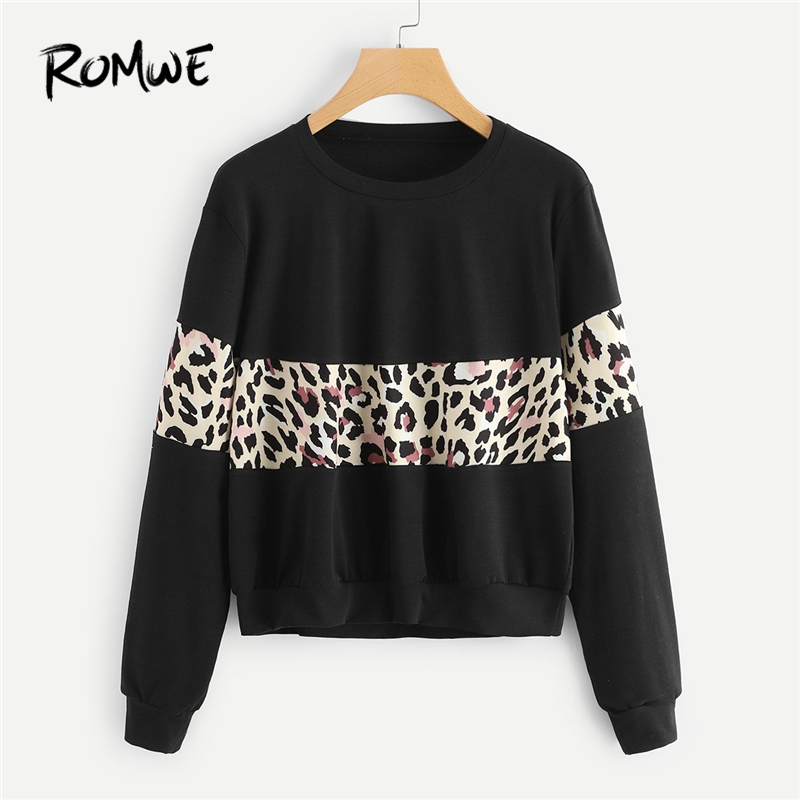 ROMWE Black Leopard Print Contrast Crop Sweatshirt Women Clothes 2019 Autumn Womens Fashion Clothing Casual Sweatshirts Pullover
