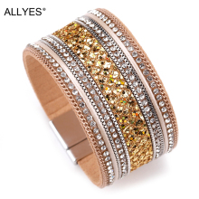 ALLYES Women Leather Bracelet Femme Cystal Sequins Paved Bohemian Wide Cuff Bracelets & Bangles Female Jewelry