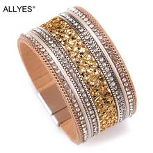 ALLYES Women Leather Bracelet Femme Cystal Sequins Paved Bohemian Wide Cuff Bracelets & Bangles Female Jewelry все цены