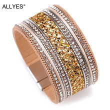 ALLYES Women Leather Bracelet Femme Cystal Sequins Paved Bohemian Wide Cuff Bracelets & Bangles Female Jewelry(China)