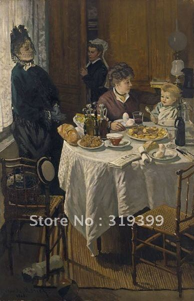 Claude Monet Oil Painting Reproduction, Oil Painting,Claude Luncheon (1868) ,100% handmade,Free Shipping,museum QualityClaude Monet Oil Painting Reproduction, Oil Painting,Claude Luncheon (1868) ,100% handmade,Free Shipping,museum Quality