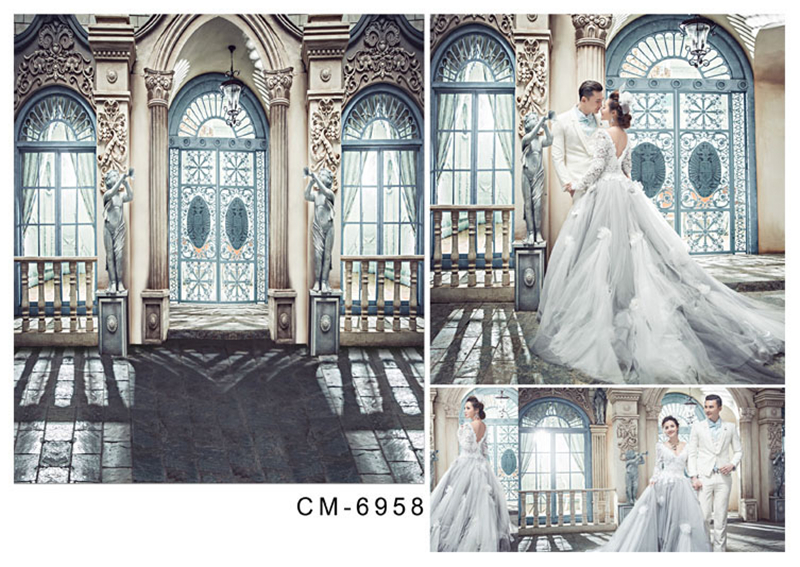 200*300cm(6.5*10ft) Photography Backdrops Wedding Background Studio European Architecture Brick Ground Dark Buildings For Lover