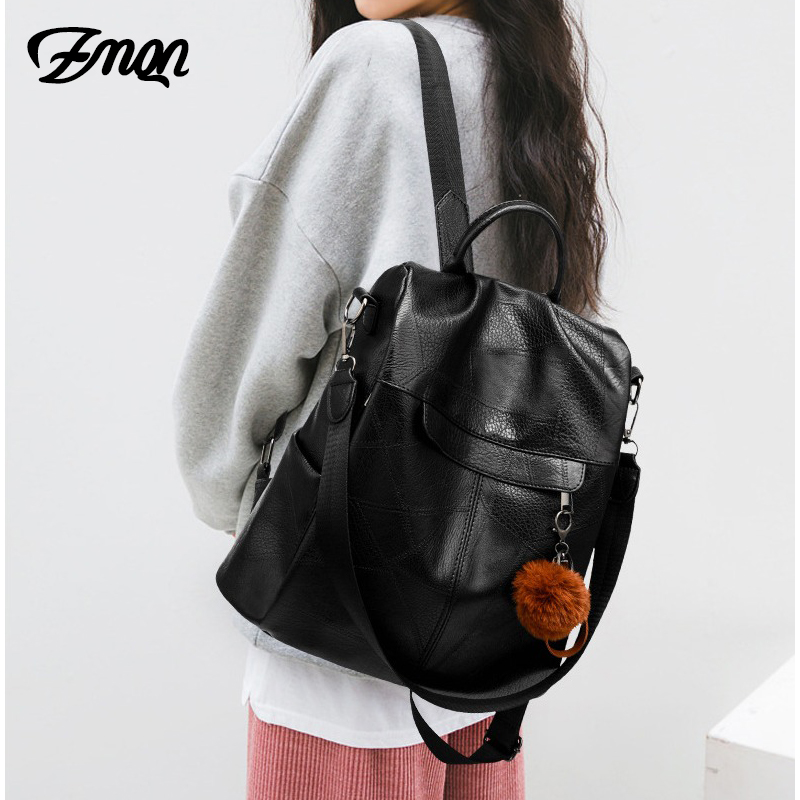 Image 5 - ZMQN Backpack Women Shoulder School Bags for Teenage Girls Vintage Leather Anti Theft Backpack Mochila Mujer Back Pack Lady C106-in Backpacks from Luggage & Bags