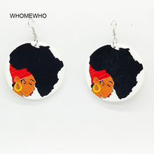 Bohemia Wood Painting Africa Map African Girl Round Silver Metal Drop Earrings Women Wooden Fashion Hiphop Tribal DIY Jewelry unfinished wood printing africa girl round drop earrings wooden african hiphop tribal handmade diy jewelry natural accessories