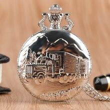 Silver Steampunk Cool Truck Van Lorry Quartz Pocket Watch Fashion Vintage Necklace Pendant for Women Men Birthday Gift Clock